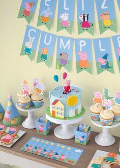 Bolo Da Peppa Pig, Cumple Peppa Pig, Peppa Pig Birthday Cake, Peppa Pig Cupcake, Peppa Pig Cakes, Peppa Pig Y George, George Pig Party, George Pig Cake, 3rd Birthday Parties