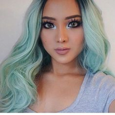 Big Wave Light Green Synthetic Lace Front Wig
