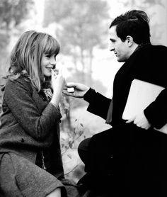 Françoise Dorléac & François Truffaut on the set of La Peau douce (1964)