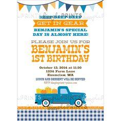 Pumpkin Patch Birthday Party Invite Vintage truck Pumpkins Invitation by DimplePrints