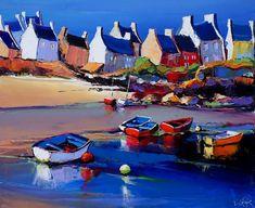 Cottages Watercolor Landscape, Abstract Landscape, Mediterranean Paintings, Art Tropical, Photo Bretagne, Art Français, South African Artists, Boat Painting, Funky Art