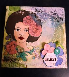 PRIMA BLOOM COLLECTION.  Mixed Media Canvas Art by Fiona Parker, Geraldton, Western Australia. Prima Bloom Girl Karlie stamps by Jamie Dougherty for Prima Marketing