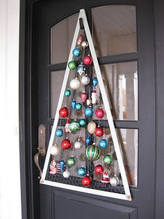 Made with chicken wire - just hang ornaments on