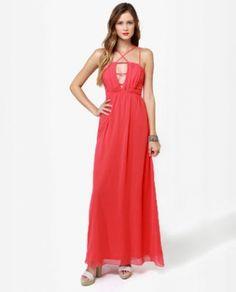 Strings Coral Maxi Dress