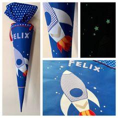 Schultüte aus Stoff Rakete mit nachtleuchtenden Sternen in Blautönen