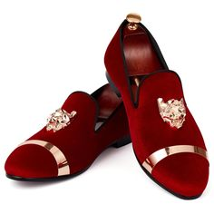 681d1c5fc16 Harpelunde Men Flats Dress Shoes Blue Velvet Loafers With Animal Buckl