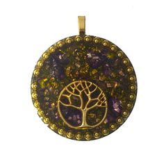 TREE OF LIFE Orgonite Pendant, Orgone Energy Necklace, Sacred Tree, Healing Tree Of Life, Brass BBs, Metal Shavings, Copper Coil by AttunementShop on Etsy