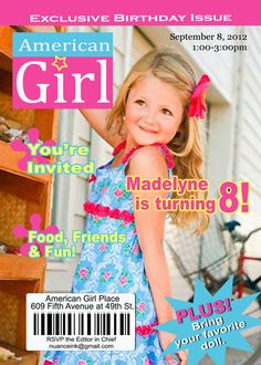 Items similar to Custom American Girl Doll Birthday Party Invitations on Etsy