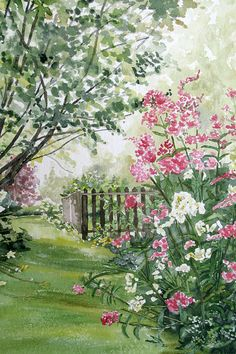 Misty Morning Sunshine  Pink & White Garden by DowneastWatercolors
