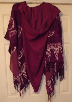 Upcycled sarong Hooded Ruana Purple ruana Ruana Wrap cape Ruana Shawl Ruana poncho boho hippie plus size clothing hooded sweatshirt bohemian by WindyMountainDesigns on Etsy