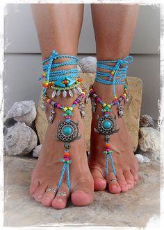 NEON Sea TURTLE BAREFOOT sandals Beach sandal Luxurious Tortoise Seascape Ocean Bohemian Seaworld anklets crochet foot jewelry GPyoga