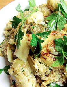 Quinoa aux artichauts poêlés, citron et persil. Elaborer des recettes végétariennes (végan) à partir des produits du potager, légumes et les fruits, souvent qualifiées de recettes minceur.