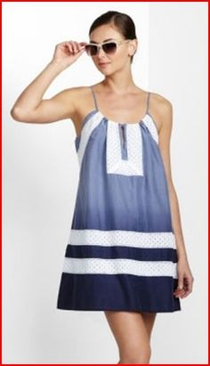 BCBG VALA PACIFIC BLUE COMBO COTTON SILK RELAX SUMMER DRESS $298
