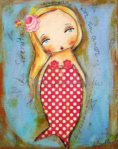 La Sirenita The little MermaidOriginal mixed media by PBsArtStudio