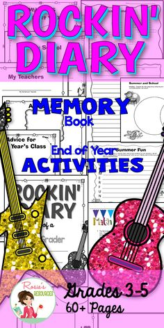 This Memory Book with a rock theme is a Top 100 product. Kids love the super cool rock star theme for grades 3, 4 and 5. Over 60 pages of memory book and fun last week activities.