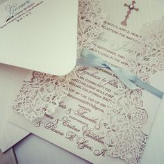 """Intricate"" lace baptism/christening invitation xo embellishments"