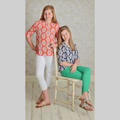 Shop Betwixt - A Tween Boutique in the US; Unique Pattern Print Blouse available in orange or navy
