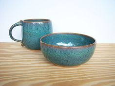 Ceramic Breakfast Set  One Cup and One Bowl in by dorothydomingo, $36.00