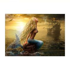 #BFCM #CyberMonday #RoseWholesale - #Rosewholesale Naiyue 9836 Cartoon Mermaid Print Draw Diamond Drawing - AdoreWe.com