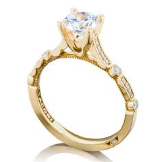Shop online TACORI 202-2RD6Y Vintage Yellow Gold Diamond Engagement Ring at Arthur's Jewelers. Free Shipping