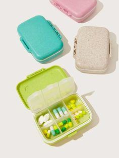 Wheat Straw Portable Pill Storage Box 1pc | SHEIN USA Storage Organization, Bag Storage, Storage Boxes, Cool Desk Gadgets, Homemade Mascara, Wheat Straw, Fiber Lash Mascara, Cute School Supplies, Fresh Shoes