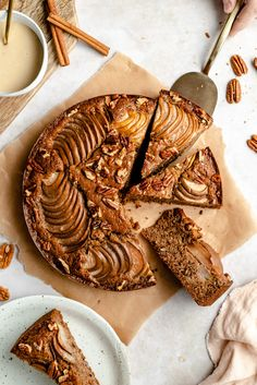 Maple Pecan Pear Cake with Tahini Maple Glaze