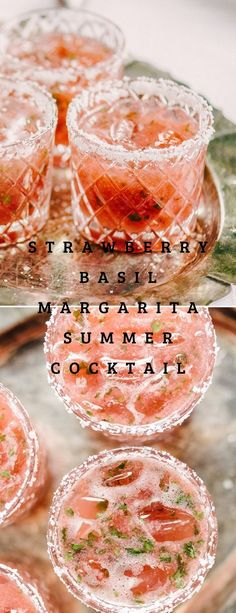 Strawberry Basil Margarita Summer Cocktail #strawberry #cocktails #cocktailsrecipes
