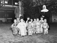 くらもと(Kuramoto) -- The Angel Guardian Home, a Catholic home for orphans in Japan. As this private was about to leave, Sister St. Paul had the orphans dress in their finest clothes to have their picture taken (October, 1945) かわいい そうです!