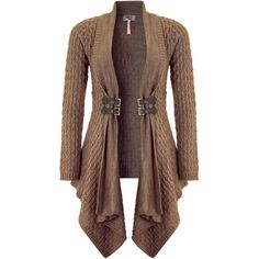 Lipsy Waterfall Textured Cardigan (€21) ❤ liked on Polyvore featuring tops, cardigans, jackets, outerwear, sweaters, mocha, brown cardigan, wrap cardigans, buckle tops and lipsy tops