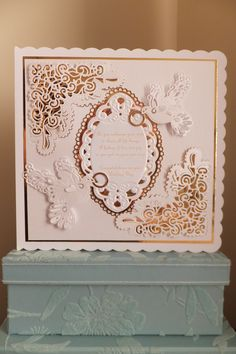 Tattered lace chantilly die and tattered lace doves wedding card