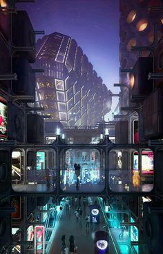 Ideas Sci Fi Concept Art Cyberpunk Future City For 2019 Arte Cyberpunk, Ville Cyberpunk, Cyberpunk City, Futuristic City, Futuristic Architecture, Futuristic Bedroom, Futuristic Interior, Cyberpunk 2077, City Architecture