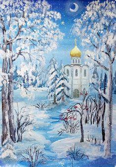 Картина панно рисунок Мастер-класс Рисование и живопись Зимний пейзаж с храмом Бумага Гуашь фото 1