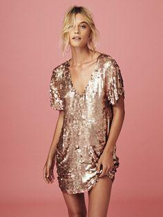 Rose Gold Glitter Mini Fashion Dress