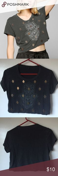 UO Hamsa beaded shirt Worn & washed once. Great, like new condition. Has some small holes in the front that is original from purchase. Glued on Hamsa beads. Cropped. 100% cotton. Urban Outfitters Tops Tees - Short Sleeve