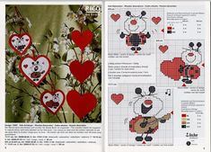 Ladybug Hearts 2 of 5 Butterfly Cross Stitch, Cross Stitch Heart, Cross Stitch Cards, Cross Stitching, Valentines Flowers, Valentine Crafts, Papillon Butterfly, Stitch Cartoon, Cross Stitch Magazines