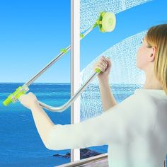 Finally get the outside of your second-story windows clean with a telescopic tool that you can use from inside your house. | 37 Seriously Useful Tips Every Neat Freak Needs To Know