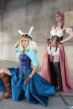 Adventure Time Fiona and BP Steampunk cosplay, Could be Princess peach and Rosalina