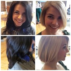 Before and after, long brown hair to short blonde bob
