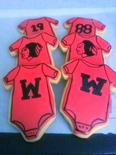Chicago Blackhawk Baby Onesie sugar cookies w/ royal icing