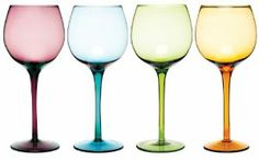 "Sophia Jeweltones Stemware Set by Oenophilia. $34.99. All-purpose glasses add flair to every occasion. Featuring rich jeweltone colors. Dimensions: 9""H. A colorful glassware set. Serve up your favorite wine in dazzling style with this colorful glassware set. Featuring rich jeweltone colors, these all-purpose glasses add flair to every occasion. 6 ounces, 9"" Tall"