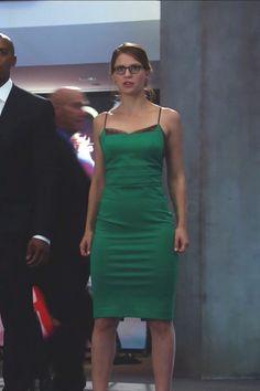 Kara Danvers / Supergirl wearing  BaubleBar Meteor Ear Jackets, Noam Hanoch Guinevere Slip Dress, L.A. Eyeworks Dap Frames in Tortoise