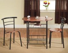 Kitchen Bistro Dining Set 3 Piece Breakfast Table Chairs Small Home Furniture  #KitchenBistroDiningSet