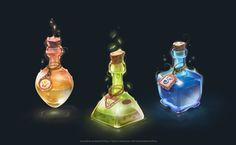 Magic bottles, anastas ermolina on ArtStation at https://www.artstation.com/artwork/46G3Y
