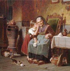 Hermann ~ Werner ~ German Painter Whispering_to_Grandma Paintings I Love, Beautiful Paintings, Knit Art, Image Nature, Cottage Art, Victorian Art, Ancient Art, Female Art, Art Drawings