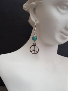 Silver Peace Sign Earrings, Blue Turquoise, Peace Symbol, Peace on Earth, Unique Gift Ideas For Her, jingsbeadingworld inspired by nature Eye Stone, Unique Gifts, Handmade Gifts, Stone Bracelet, Earth, Peace, Sign, Turquoise, Gift Ideas