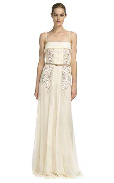 Carolina Herrera: Chiffon Spaghetti Strap Embroidered Gown