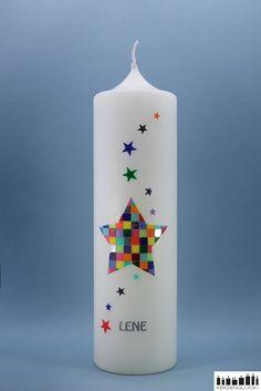 "Taufkerzen - Taufkerze ""Stern"" - bunt - ein Designerstück von mein-kerzenglueck bei DaWanda"