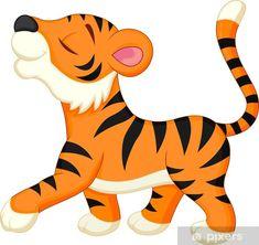 Tiger Cartoon Drawing, Cartoon Wall, Cartoon Drawings, Animal Drawings, Tiger Outline, Tiger Art, Tiger Illustration, Jungle Animals, Cute Animals