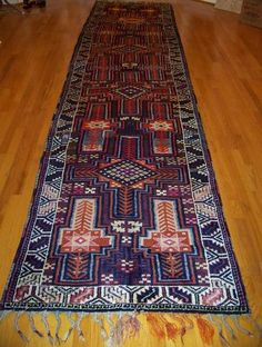 "HANDKNOTTED 14'7""x3'5"" Turkish KURDISH Herki Wool Runner Area Rug Carpet | eBay"