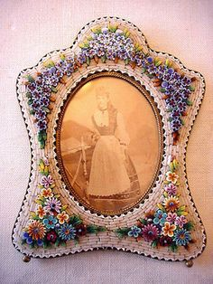 ANTIQUE VENETIAN MICRO MOSAIC PHOTO PICTURE FRAME 1890's
